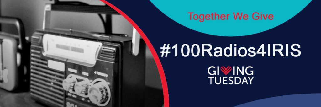 100 Radios For IRIS Giving Tuesday Logo